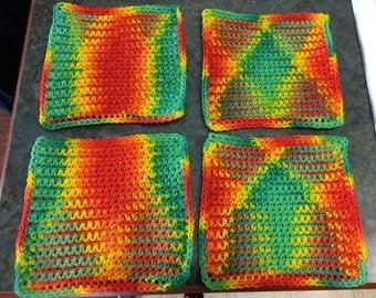 Washcloths or Dishcloths Rainbow Colors, etc. Handmade Crochet Qty of 4