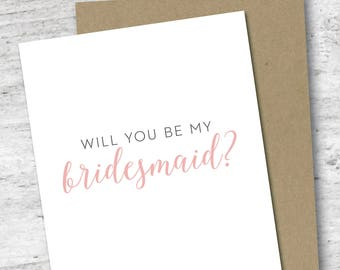 Will You Be My Bridesmaid Card | Wedding | Bridesmaid | Wedding Party | Customize Colors | Bridal Party | DIY Wedding