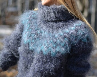 ORDER handmade mohair sweater hand knitted Icelandic pullover thick soft jumper fuzzy Tneck multicolor custom size Nordic sweater Dukyana