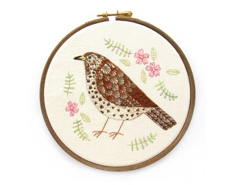 Embroidery Hoop Art, Song Thrush with Pink Flowers, Framed in an Embroidery Hoop
