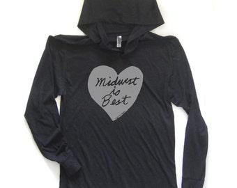 midwest is best hooded tshirt, midwest is best heart, midwest longsleeve shirt, gray and red, unisex hoodie, megan lee designs, free ship