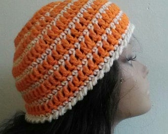 Orange Cream Messy Bun Hat - Orange and White Hat - Mom Hat - Teen Girl Hat - Ponytail Hat - Striped Hat - Bright Color Hat - Ready to Ship