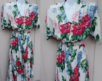 Vintage 80s does 50s Floral Dress by Carol Anderson / Church Summer Party / Sz Med