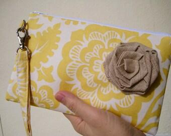 Wedding Clutch 2 pockets,medium,yellow,flowers,discount plan set, wristlet, cotton - Blockade Blossoms in Dandelion