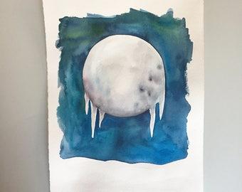 Original Watercolor - Full Cold Moon