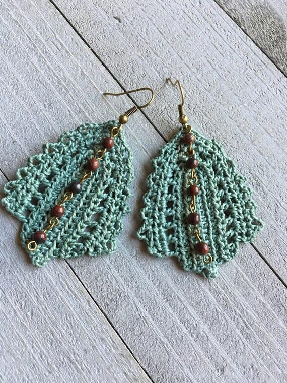 Crochet Leaf Statement Earrings Irish Lace Sagebrush Boho Chic Crocheted Hippie Dangle Earrings Gift for Her Crochet Leaf Nature Jewelry