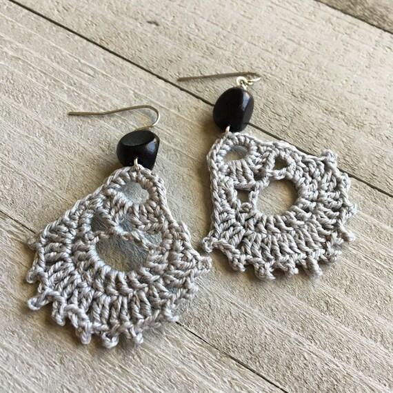 Boho Earrings, Crocheted Dangle, Statement Earrings, Boho Jewelry Gift for Her Modern Bohemian -Handmade Lace in Light Gray