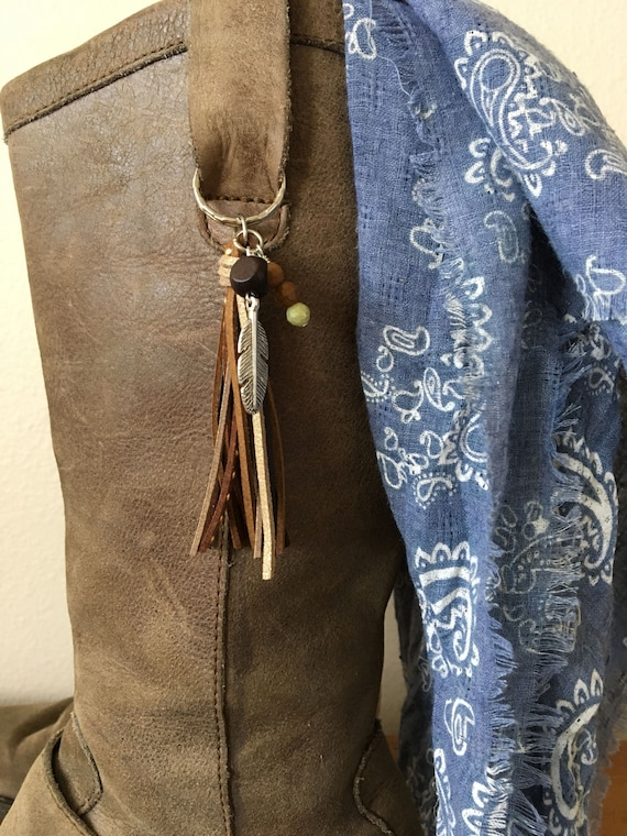 Boot Tassels Boot Jewelry Zipper Pull Boot Clips Cowgirl Boot Bling Shoe Tassel Keychain Purse Tassel Set of Two Tassels with Feather Charms