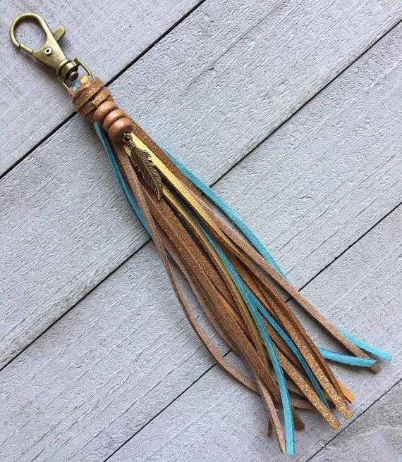Tassel Purse Charm, Tassel Keychain, Handbag Tassel, Bag Charm, Zipper Pull, Zipper Charm, Hippie Keychain, Cowgirl Gift for Her (KC219)