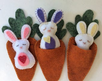 Easter Basket Toys Hand Embroidered Bunny in a Carrot