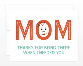 Thanks Mom Mother's Day Greeting Card - Simple heartfelt card for mom, card for mother