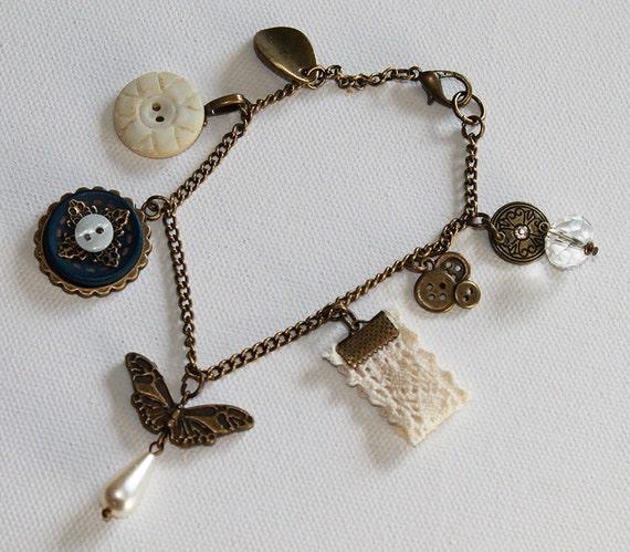Boho Vintage Style Charm Bracelet - Butterfly Charm - Vintage Button - Vintage Gold - OOAK
