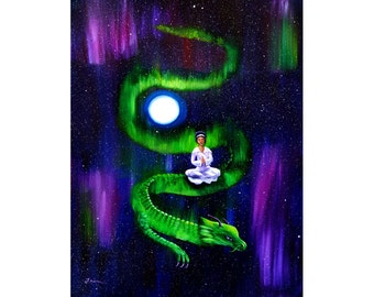 Quan Yin Boddhisattva Goddess Aurora Borealis Northern Lights Magenta Dragon Moon Wall Art Night Stars Decor Giclee Canvas Fine Art Print