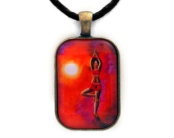 Red Tara Yoga Goddess Rectangle Pendant Boddhisattva Buddhist Woman Doing Yoga Tree Pose Necklace Spiritual Handmade Art Jewelry