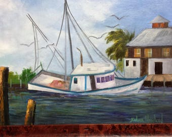 Miss Britney, abandoned Shrimp Boat, oils on canvas. Barbara Haviland, Texas Contemporary Artist,Plein Air