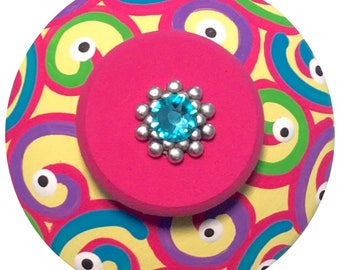 Rainbow Swirl Knobs Jeweled Knobs Hand Painted Knobs Dresser Knobs Decorative Knobs Kids Knobs Childrens Knobs Nursery knobs Drawer Pulls