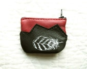 SALE Feather Coin Purse Leather Recycled