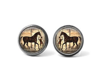 Handmade Photo Earrings, Altered Art Earrings, Stud Earrings, Post Earrings, VINTAGE HORSE, Derby Horse, Horse Out of the Barn