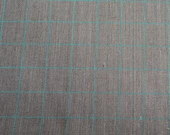 Fabric panel - Grid in seafoam blue ink on flax linen. Textiles designed and screen printed in Melbourne.