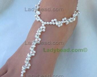 TFJ102 Barefoot Sandals Wedding Ladybead InfinityWave Rhinestone Pearl