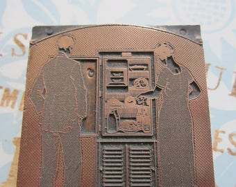 Couple Looking in Old Fashioned Refrigerator Antique Letterpress Printers Block