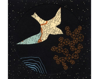 PRINT - Migration 1 / mountain ocean birds map art collage topographic geometry pattern orange blue thread