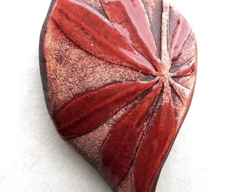 Pendant Leaf Rustic Brown Red Petals by Mary Harding