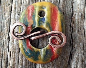 Toggle  Clasp Multi colors Stoneware Ceramic Clay Handmade by Mary Harding