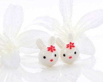 White Rabbit Earrings Bunny Jewelry Snowy and Snowden - Kawaii Earrings - Bunny Rabbit Jewelry - Bunny Earrings