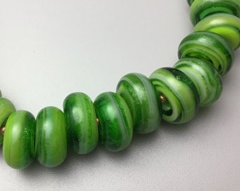 Lampwork Large Hole Beads In Greans
