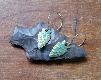 Aquamarine and Gold Arrowhead Earrings Virdigris Patina Brass Arrowhead Earrings bohemian jewelry - Gift for Pisces - March Birthstone color