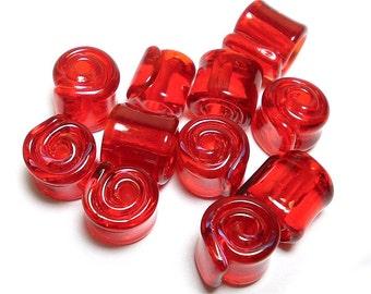 Handmade Lampwork Glass Beads, Transparent  Orange Red Wraps