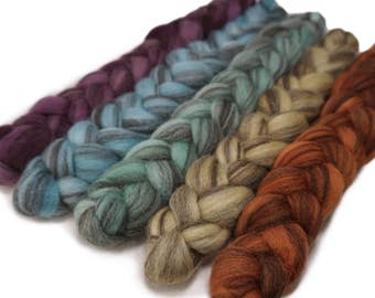 CTA SAL Pre-Order - Handpainted Heathered BFL Wool Roving Bundle - 5 oz. Arizona - Spinning Fiber