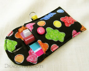 Mini Essentials Pouch - ID or credit card and lip gloss holder, insulated lip balm case, bear candy theme black and multicolor with silver