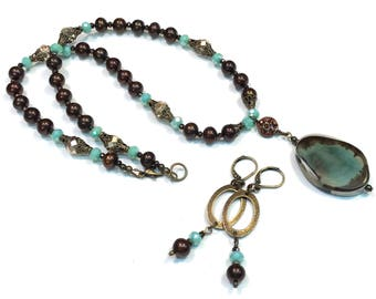 Chocolate Brown and Sea Green Brass Necklace with Agate Pendant includes Earrings