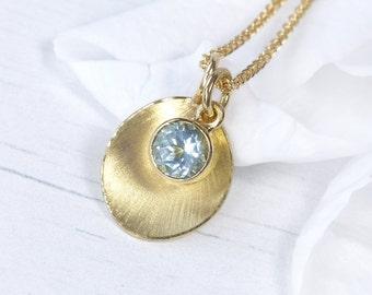 Aquamarine Petal Pendant, 18ct Gold