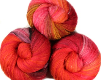 Hot Pepper - classic batts -- (4.5 oz.) organic polwarth wool, bamboo, sparkle.