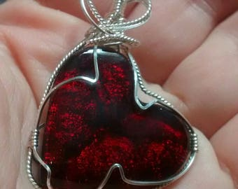 Handmade Jewelry Handmade Necklace Fiery Red Dichroic Glass Heart Pendant Sterling Wire Wrapped OOAK