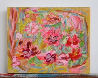 original floral painting 8x10 on wood titled Flower Fields Forever