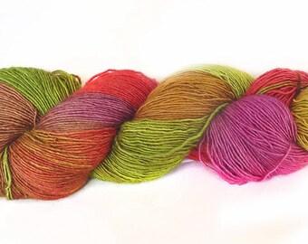 Handdyed  superwash Merino wool silk sock weight yarn, 400m/100g hand dyed