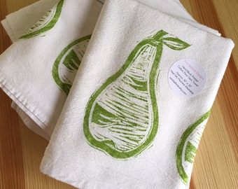 Green Pear Kitchen Towel - Fruit Tea Towel - Soft Cotton Flour Sack Towel - Hand Block Printed Pear Cotton Towel