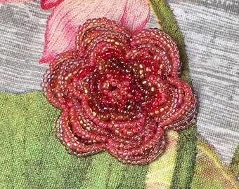 Beautiful Beaded Flower Brooch- Pink