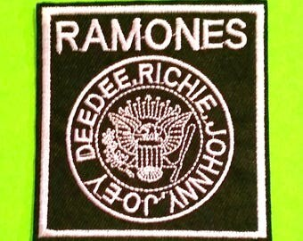 Ramones Punk Mayhem Rebel Yell Band Music Black and White Embroidered Canvas Iron or Sew On Patch - More Styles