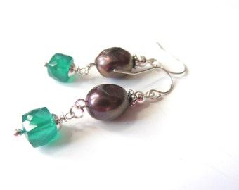 Green Amethyst Earrings, Rainbow Pearls, Gemstone Cube Earrings, Brown Boho Dangles, Freshwater Pearl Jewelry, Sterling Silver, Gift for Her