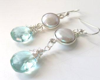 Pearl and Aqua Quartz Earrings, White Freshwater Pearls, Teal Quartz Drops, Dainty Seafoam Earrings, Long Teardrop Earrings, Sterling Silver