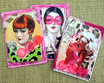 Diva Ladies Magnets Mixed Media Recycled Upcycled Handcrafted Refrigerator Magnets Original Collage Work Retro one of a kind