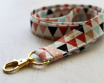 Coral and gold fabric lanyard - 3/4 inch wide lanyard - cute key lanyard - ID holder - key lanyard - teachers lanyard - Work ID lanyard