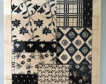 crazy quilt dressmaker's pattern collage rubber stamp