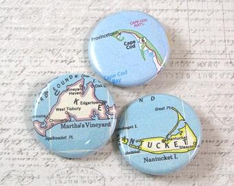 Cape Cod Map Pinback Button Set