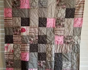 Moving Sale La Vie En Rose Baby Quilt - pink, magenta, black, grey, cream 303